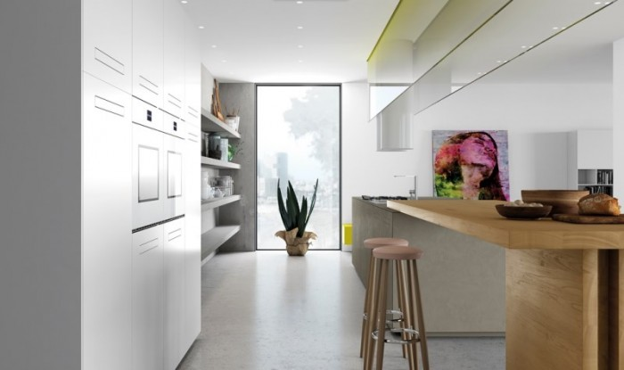 cucina moderna laccato bainco opaco e legnodi rovere naturale, modello Sintesi di Comprex cucine